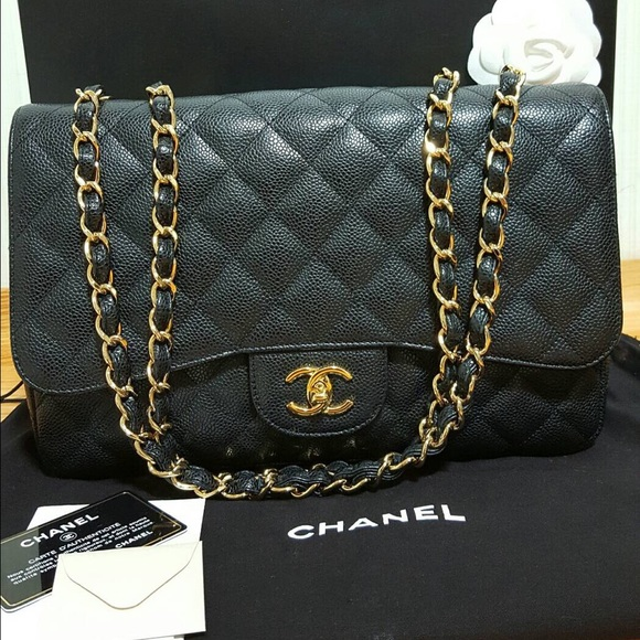 ceb4c6cc0c33ba CHANEL Bags | Sold Jumbo Single Flap Bag Caviar Black | Poshmark