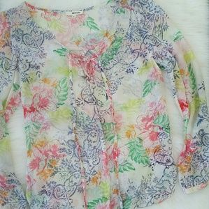 LAmade Tops - LA Made Bright Floral Print Tie-up Blouse Top