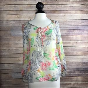 LAmade Tops - LA Made Floral Tie-up Blouse Top