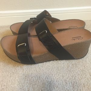 077f091a76 Clarks Shoes   New Never Worn Auriel Till Wedge In Black   Poshmark