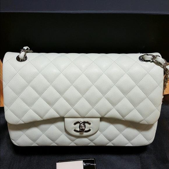 20cf4a8ab5f9 CHANEL Bags | Jumbo Double Flap Bag Caviar Ivory Shw | Poshmark