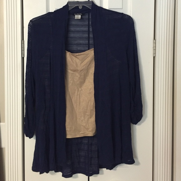 CKW Crew Knit Wear - Sheer Navy Blue Rouched Sleeve Fly Away ...