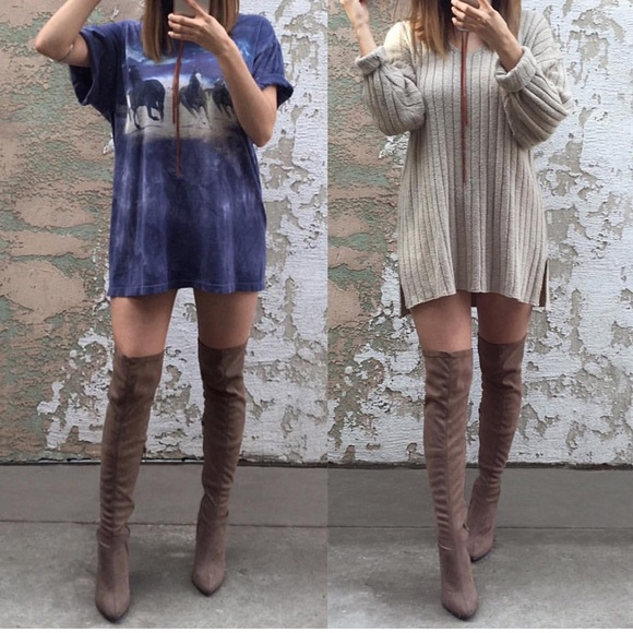 Over The Knee Tan Boots - Cr Boot