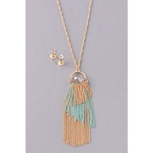 Stone Tassel Necklace & Earrings