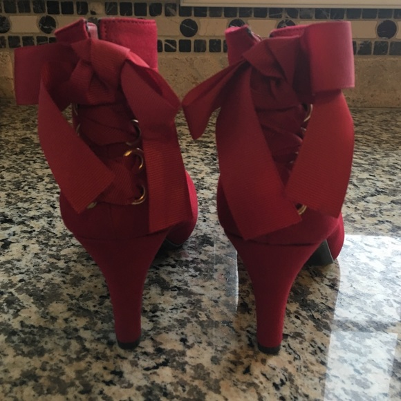 86% off Impo Shoes - Impo Tarra red suede heeled booties from DSW ...