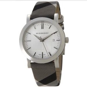Burberry Accessories - Burberry Large Check Leather Strap Watch
