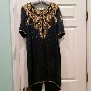VINTAGE 80'S BLUE & GOLD SEQUIN SILK DRESS