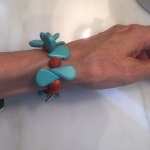 Bliss Jewelry - Coral, Turquoise and Sterling Silver Bracelet