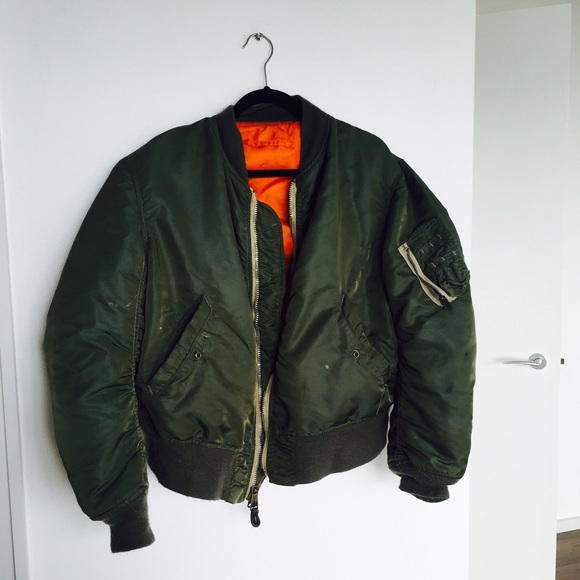 Vintage Official Authentic Bomber Jacket Green Orange AaOTpv