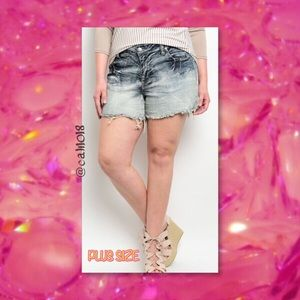 Plus Size Acid Wash Distressed Denim Shorts
