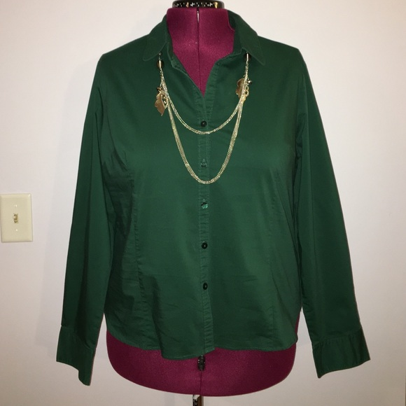 50% off George Tops - George Dark Green Button Down Shirt size XXL ...