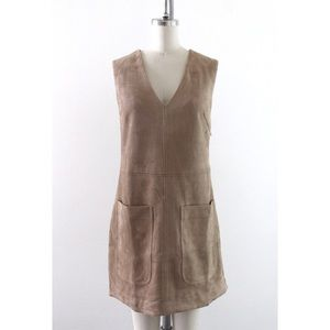 Tan Faux Suede Sleeveless Shift Dress