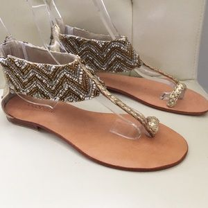 Cocobelle Shoes - Cocobelle Gold Zig Zag Beaded Sandal