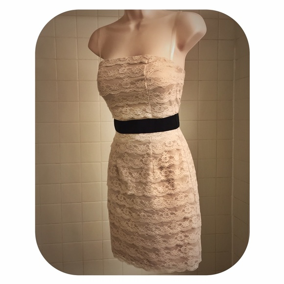 Pale Pink Layered Lace Strapless Dress