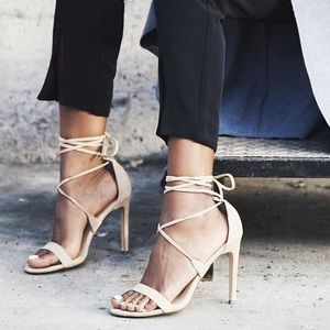 Steve Madden Presidnt Lace-up Nude Sandals