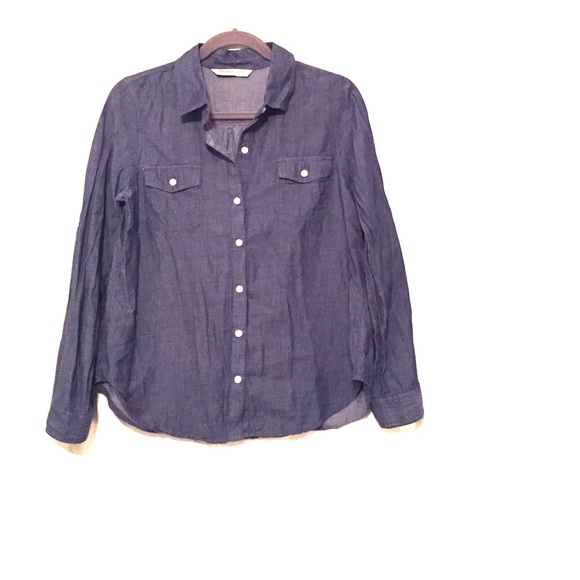 52 Off Old Navy Tops Old Navy Blue Chambray Button Up
