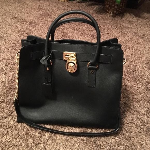 1779aba8c006 MK Hamilton Large Saffiano Leather Tote black gold.  M 56e38268713fdecb5900b03e
