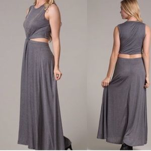 🔥Grey Cut-Out Maxi Dress