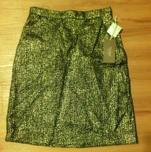 NWT Tucker Navy Blue Gold Metallic Pencil Skirt