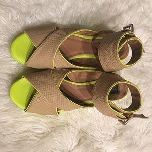 Deena & Ozzy Nude & Neon Yellow Flatforms