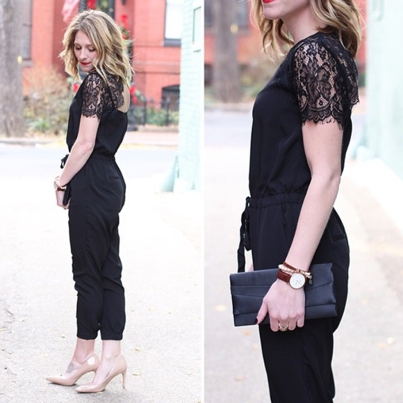 f822d343e62 LOFT Pants - LOFT Black Lace Jumpsuit