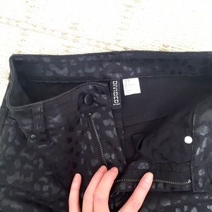 H&M Skirts - BRAND NEW H&M waxed leopard black mini skirt
