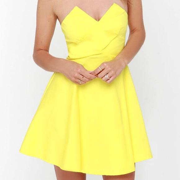 Yellow Strapless Skater Dress