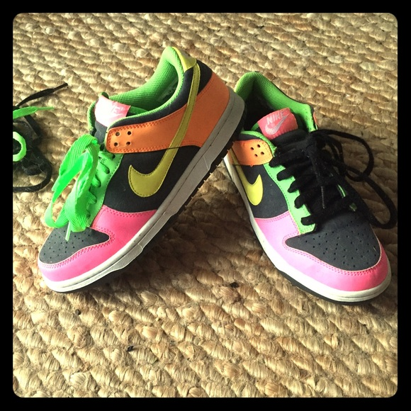 Nike Dunks! Only Worn 1x!! Bright Neon Colors!