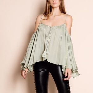 """Stars"" Off Shoulder Bell Sleeve Peasant Top"