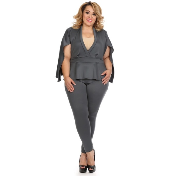 Pants Gray Plus Size Cape Jumpsuit Hp Poshmark