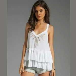 FREE PEOPLE white ruffle embroidery tank