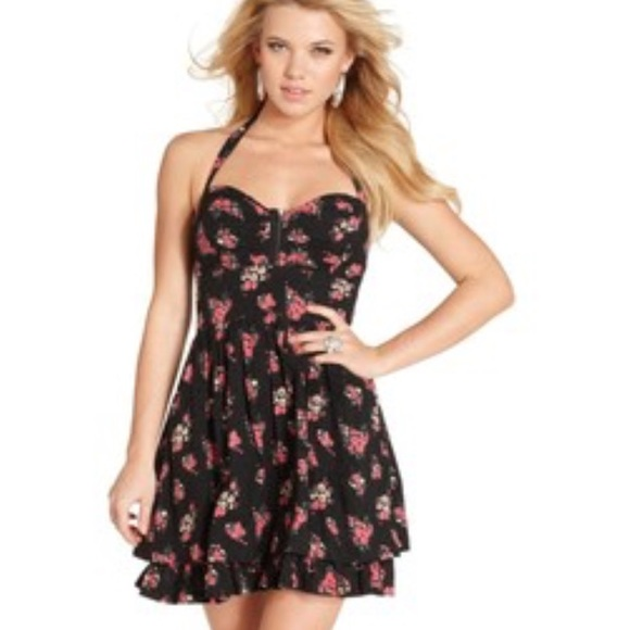 88% off Guess Dresses & Skirts - Guess black and floral halter ...