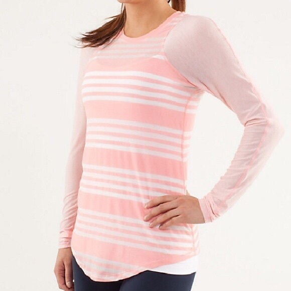 63% off lululemon athletica Tops - Lululemon pink stripe long ...