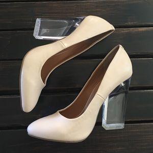 Nasty Gal Shoe Cult Nude & Lucite Heels 6