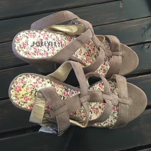 Forever 21 Taupe Platform Heels