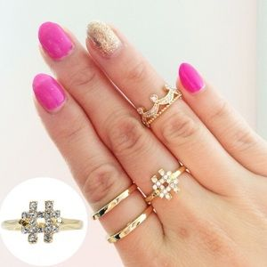 18kt gold Czech crystal hashtag ring