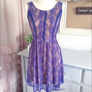 Royal Blue Floral Lace Spring Dress