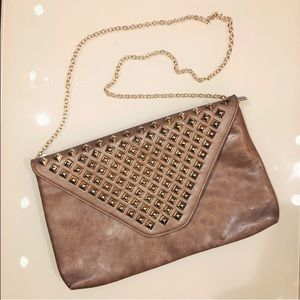 Handbags - TAUPE STUDDED ENVELOPE CLUTCH