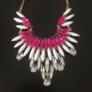 Pink & white crystal statement necklace