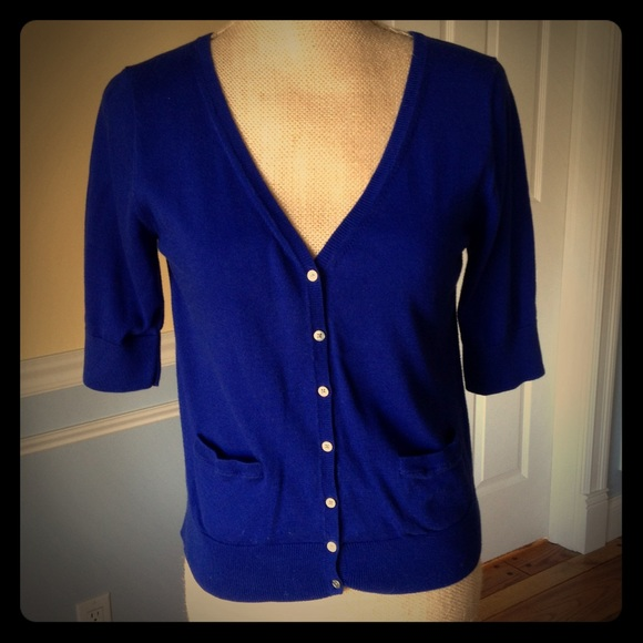 DKNY - DKNY royal blue cotton short sleeve cardigan from ...