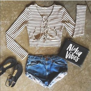 Tops - ❗️CLEARANCE❗️White Black Striped Lace Up Crop Top