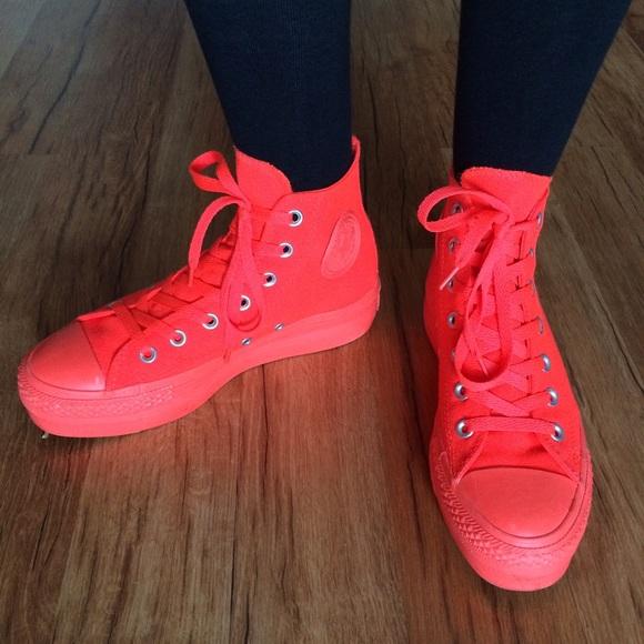 e98d556d312 Converse Shoes - Neon orange converse all stars platform 7 7.5