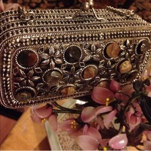 Vintage Silver gemstone clutch! OFFERS CONSIDERED!
