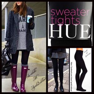 HUE Accessories - Black Fleece Lined SWEATER TIGHTS