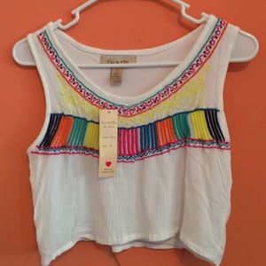 Fun & Flirt Tops - BRAND NEW white crop top with colorful design