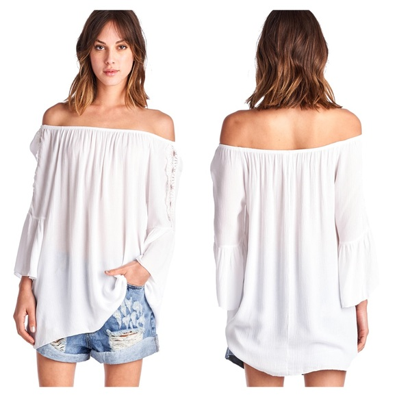 5605a9a9848d6 White Boho Flowy Bell Sleeve Off the Shoulder Top
