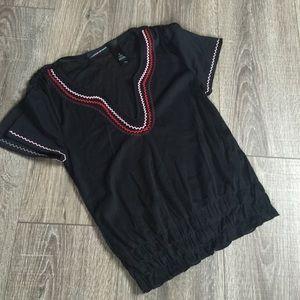 DKNY Jeans Sheer Split Sleeve Top Blouse Shirt