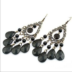 NEW Black Teardrop Chandelier Earrings