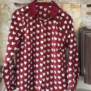 Tops - red with white hearts blouse ❤️ Suggested medium