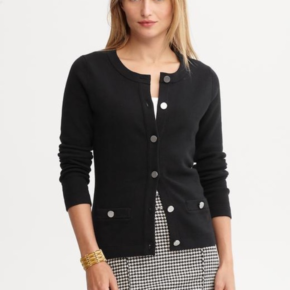 Banana Republic - Banana Republic Navy Blue Gold Button Cardigan ...